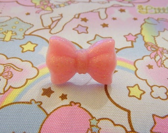 Pink Glitter Bow Rings