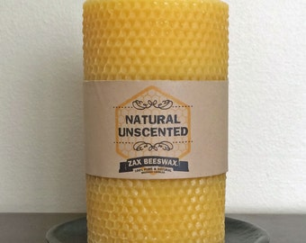 100% Pure and Natural Beeswax Pillar Candle | 3x6 Honeycomb