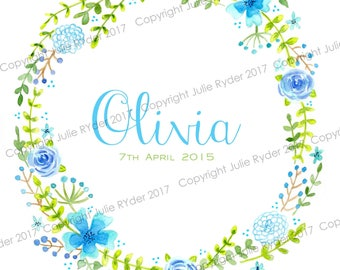8 x 10 inch Personalised Print of Floral Wreath Blue Green with Name Date