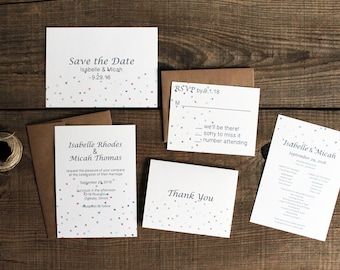 confetti polka dots wedding invitation suite - 50 save the dates, invitations, response cards, reception cards, programs, thank you cards