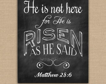 He is Risen Easter PRINTABLE. He is Not Here Matthew 28:6 Scripture Wall Art. Chalkboard sign. DIGITAL file.