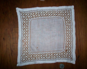 Antique square hanky or doily lace hand done
