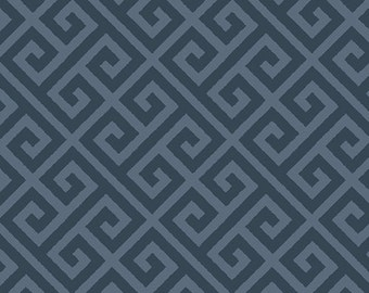 Greek - Greeka Skouro -  Art Gallery Fabric Skopelos- SK-34608 - Navy Geometric - 100% Cotton