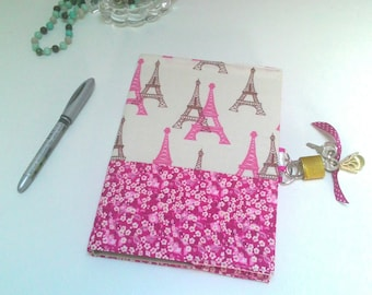 Secret book with lock / Paris journal / artist book / notes/travel/kitchen book book book / booklet