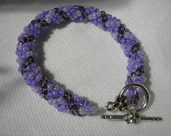 Bracelet - Twisted Rope - Glass Bead - Shades of Purple