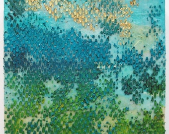 Coral Reef painting, abstract encaustic, encaustic art, wax painting, textured painting, teal, ocean floor