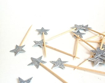 24 Elegant Petite Silver Glitter Star Cupcake Toppers - Food Picks - Party Picks