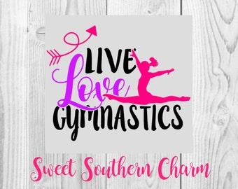 SVG File - svg files - Gymnastics svg - tumbling svg - girl svg - split svg - live love gymnastics svg - tumbline file - tumbling cut file