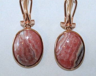 Pink Agate Earring- Set in Rose Gold plate
