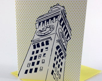Baltimore Letterpress Card   Bromo Seltzer Tower   navy & yellow single blank card with envelope