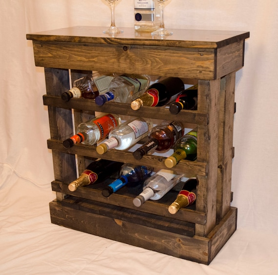 Rustic Wine Rack Floor Cabinet With Light Holds 12 Bottles
