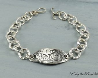 Sterling Silver Bracelet - Breathe Sterling Silver Chain Bracelet - KTBL