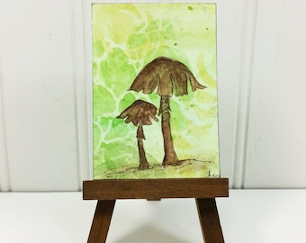 Art Miniature champignon lunatique, bois marron champignon aquarelle originale carte d'Art ACEO
