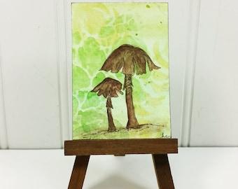Whimsical Mushroom Miniature Art, Woodland Brown Mushroom Watercolor Original ACEO Art Card