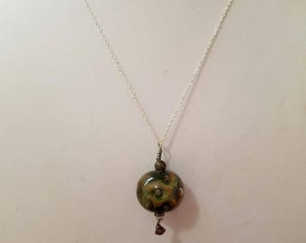 Lampwork Bubble Pendant on Sterling Silver Chain