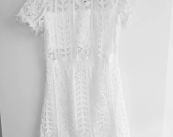 white lace floral dress bodycone