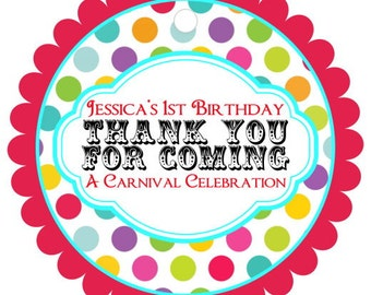 Carnival Birthday Favor Tags, Circus Birthday Favor Tags - Carnival Party Tags, Circus Party Tags - customized for you