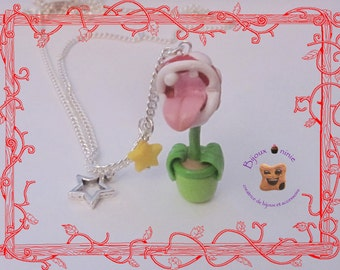 Long necklace carnivorous plant mario fimo