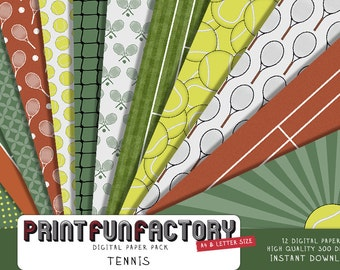 Tennis digital paper - Tennis court backgrounds - 12 digital papers (#158) INSTANT DOWNLOAD
