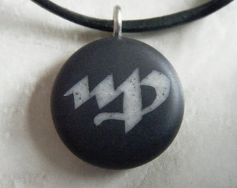 Virgo Zodiac signs hand carved on a polymer clay black color background. Pendant comes with a FREE necklace.