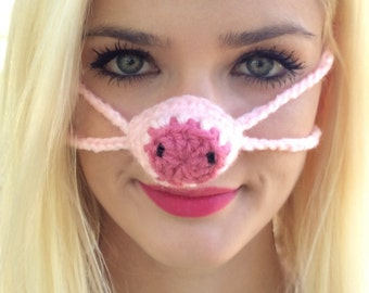Pink Pig Nose Warmer, Gag Gift, Nose Cozy, Stocking Stuffer, Winter, Man, Woman, Teen, Outdoor Nose Cover, Sleeping with Warm Nose