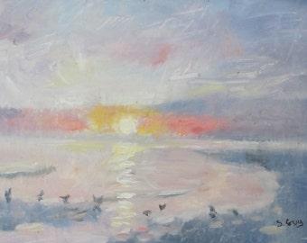 Original Oil Painting Impressionistic Seascape Sunset