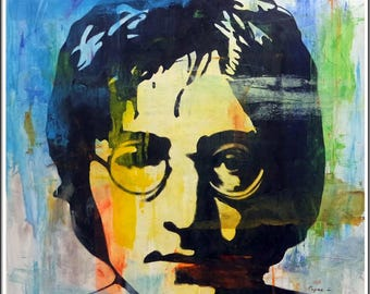 "John Lennon Oil on Canvas Portrait Modern Abstract Signed Original Painting 48""x 48"""