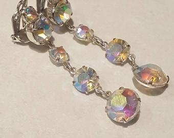 Aurora Borealis 1950s earrrings Vintage clip on earrings AB clip ons