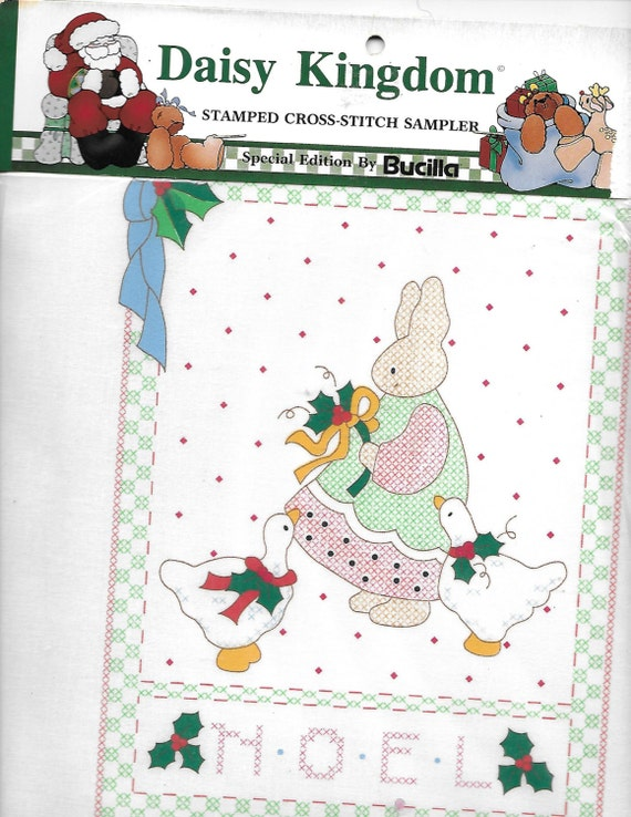 Puppy Bows ~ craft Buscilla Daisy Kingdom stamped cross stitch sampler 63445 Christmas noel bunny rabbit goose