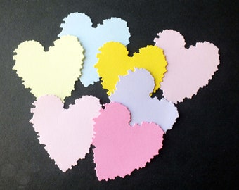 10 Crinkle Edge Heart die cut shapes assorted colours Cards Scrapbooks
