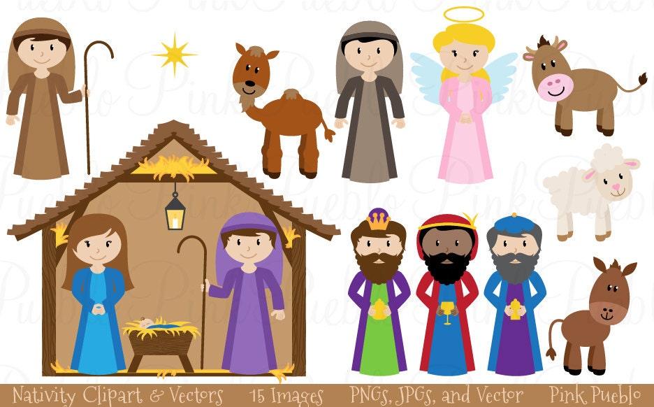 nativity clip art clipart nativity scene clip art clipart rh etsy com Free Nativity Clip Art Free Clip Art Manger with Baby