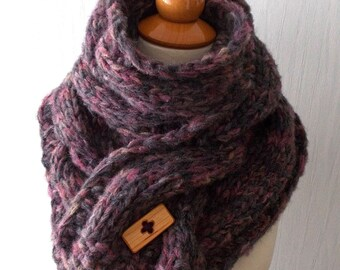 Chunky Scarf Handknit Cowl  Thick Cabled Soft  in Violet Orchid Purple Grey Brown