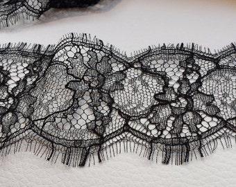 Black Lace Trim, French Lace, Chantilly Lace, Bridal Gown lace, Wedding Lace, Solstiss, Viscose Veil lace, Garter lace, Lingerie Lace MM0004