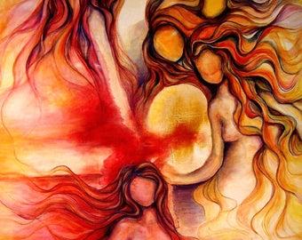 """Feminine art, divine feminine art, fine art print, sisterhood art, spiritual art, ethereal art, gift for her, goddess, portal, """"Rising"""""""