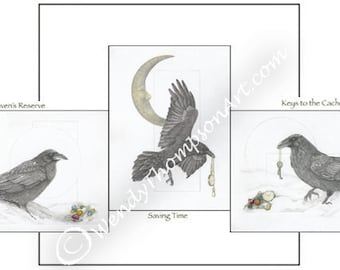 3 art note cards - One of each original Raven design: pocket watch, marbles, skeleton keys, luna moon corvid crow feathers & snow