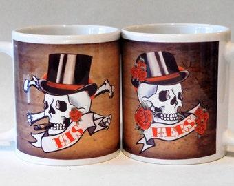 HIS & HERS  skull tattoo mugs, pair  wedding mugs, Mr and Mrs mugs, Wedding mugs for his and hers, tattoo wedding, steampunk wedding mugs