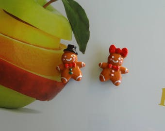 gingerbread boy and girl magnetic cognac polymer clay