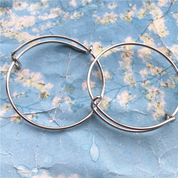 8pcs 47mm adjustable silver bangle bracelets wires/child
