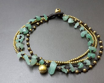 Chip Jade Brass Chain Anklet