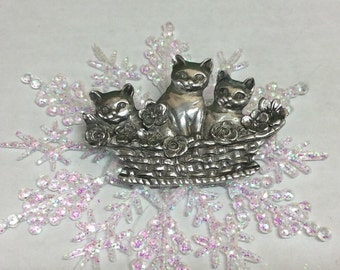 Three Cats in a Basket Brooch Seagull Pewter Canada Gift