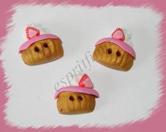 """""""Strawberry cupcake"""" button """"Fimo"""