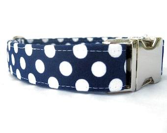 Polka Dot Dog Collar - White Dots on Navy Blue with Nickel Hardware