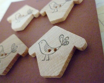 CLEARANCE Wooden Birdhouse Buttons - Birdhouse Stamped Collection