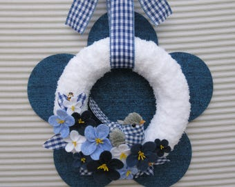 Bird Wreath, Spring Wreath, Summer Wreath, Blue Gingham Wreath, Felt Flower Wreath, Blue Flower Wreath, Yarn Wreath, Blue Bird Wreath