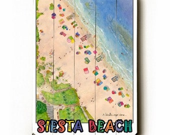 """Coastal art. Beach sign.Bird's Eye View, SIESTA KEY. 18""""x24"""". Watercolor reproduction, giclee-printed onto planked wood boards."""