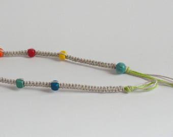 Rainbow Wood Beads Anklet