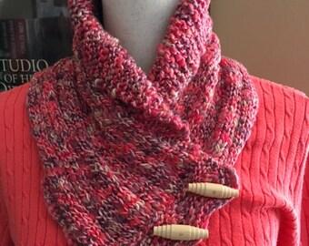 Shawl collar cowl, Hand-knit scarf/cowl