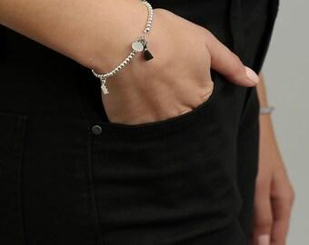 Silver Charm Bracelet, Silver Beads Bracelet, Dainty Tassel Bracelet, Bracelet For Women, Beaded Bracelet, Bohemian Bracelet, Gift For Her