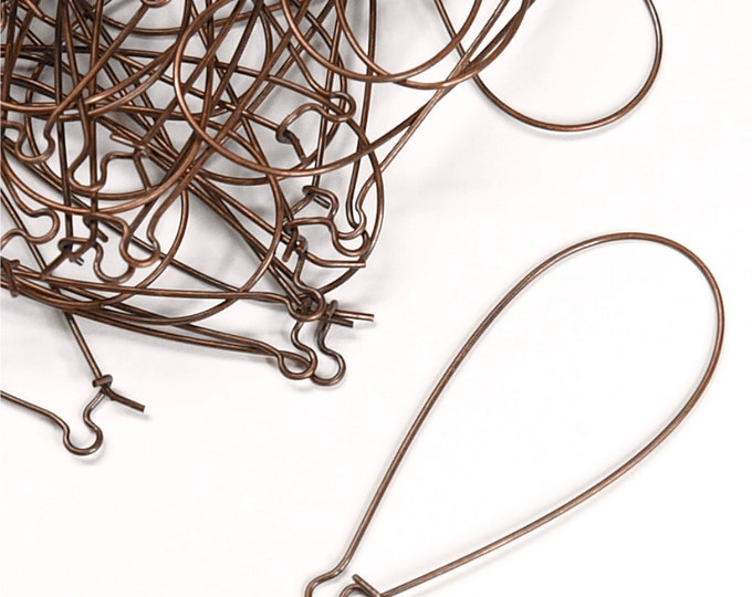 Earwire, Kidney X-Large, Antique Copper - 10 Pieces (EWBAC-KD48)