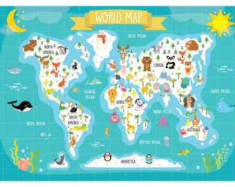 World map for kids Etsy